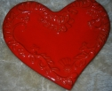 Italian Ceramic Heart Plate Red image