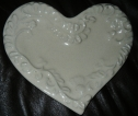 Italian Ceramic Heart Plate Cream Color image
