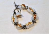 Murano Glass Bracelet Gold and White