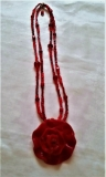 Murano Glass Venice Red Rose Necklace