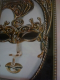 White and Gold Original Venetian Mask Drawing